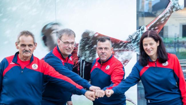 Josef Angerer, Co-Trainer Manfred Platzer, Trainer Jürgen Panis, Sektionsleiter Stv Karin Schwaiger
